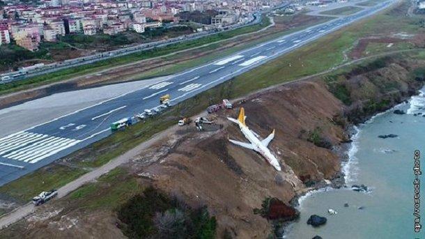 У Туреччині літак з'їхав зі схилу