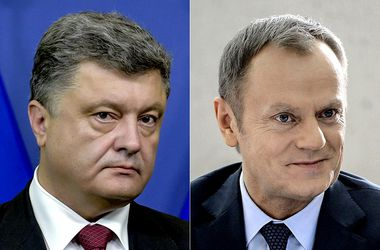 "<p style=""text-align: justify;"">Порошенко і Туск. Фото: AFP</p>"