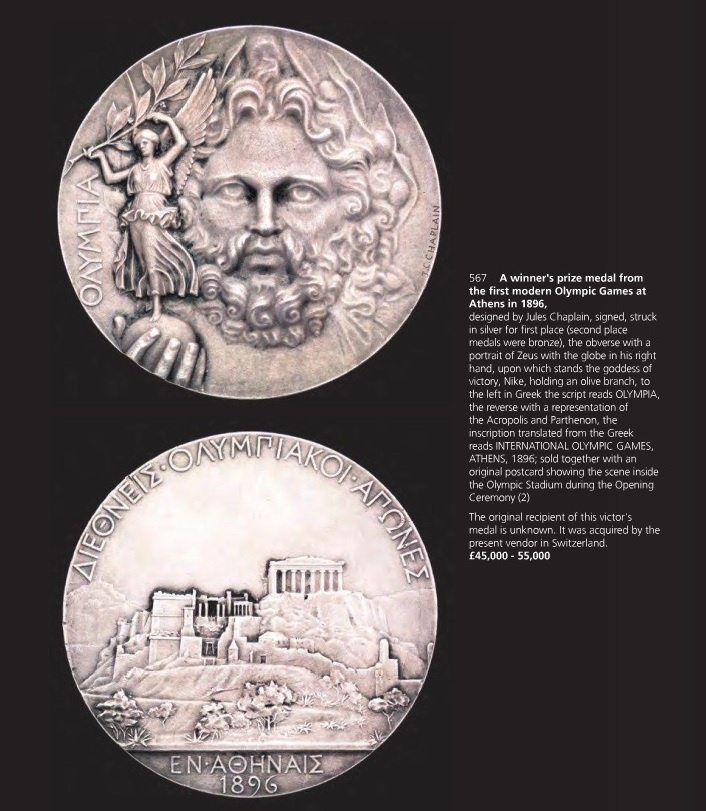 a_medal_from_the_1986_olympic_games_in_athens_sold_for_180000_at_an_auction_in_london_graham_budd